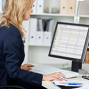 woman scrubbing data in a database